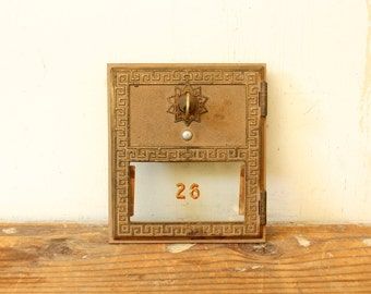 Vintage Brass Post Office Box Door with Key Building Salvage Number 26 Post Office Mail Box Door Industrial Display Brass Salvage