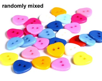 11mm Mixed color heart button - resin button - craft button - Heart shape buttons - 2 holes (1609)