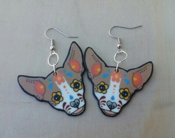day of the dead chihuahua earrings