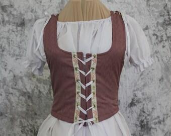 Pink Rose Renaissance Costume-Halloween Costume-Medieval Skirt-LARP-Ren Fair-Steampunk-SCA-Adult Costume-Fantasy Skirt-Item #234
