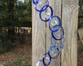 GLASS WINDCHIMES from RECYCLED bottles, eco friendly, blue lt blue, garden decor, wind chimes, mobiles, musical, windchimes