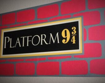 Extra LARGE Harry Potter PLATFORM 9 3/4 Hogwarts Express Sign  - Harry Potter Party Decor