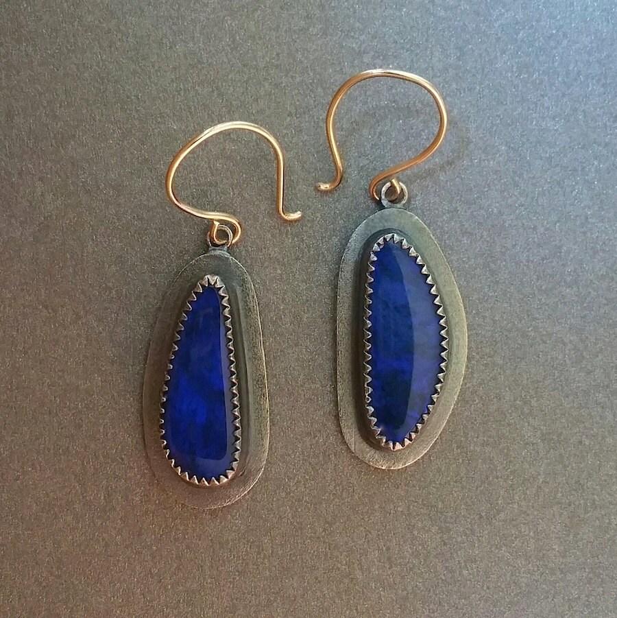 fine jewelry deep blue opal doublet earrings in by onthewrist. Black Bedroom Furniture Sets. Home Design Ideas
