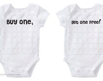 Buy One Get One Free Inspired By Shopping Sales Cute Twins / Baby Humor Onesie/Creeper/Bodysuit Size 3, 6, 12, 18, 24 Months Color White