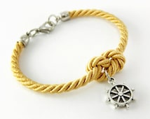 Gold Rope Knot Bracelet with Antique Silver Ship Wheel Charm, Nautical Bracelet, Bridesmaid Bracelet