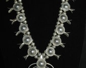 RESERVED Gorgeous Vintage Heavy Sterling Navajo Heavy Sterling Silver Satellite Squash Blossom Necklace 226 Grams Circa 1960's