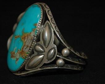 Big Gorgeous Old Fred Harvey Era Navajo Pilot Mountain Turquoise Bracelet Circa 1930's 64 Grams