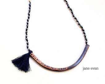 Black Statement Rosario Tassel Necklace Copper Wire Tube Oxidized Hammered Luck Love Metalwork Bohemian Hippie