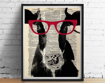 COW Wearing Red Glasses Art Print Poster, Farm Animal Vegan Illustration, Dorm Decor, Black and White Antique Dictionary Book Page GICLEE