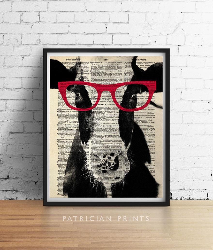 cow wearing red glasses art print poster farm animal vegan