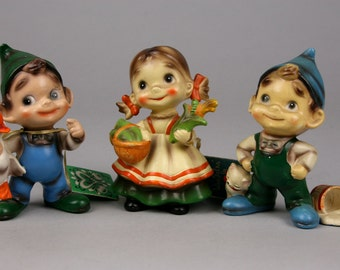 Vintage Trio of Josef Wee Folks, Country Charmers, Girl and Boys, Two with Hang Tags, made in Japan