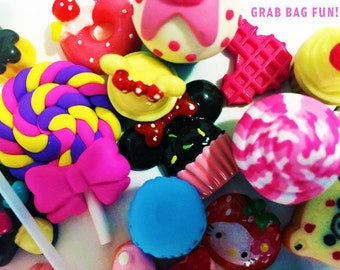 Random Mix Grab Bag Sweets dessert resin flatback Kawaii Cabochon Lot DIY deco