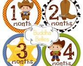 Cowboy Monthly Baby Stickers...Baby Boy Baby Shower Gift...Western Baby...Boy Baby Decals Month to Month Stickers - B113