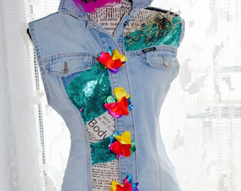 CLEARANCE Denim Waistcoat ,  Up-Cycled Denim Waistcoat , Patched L size Denim Wash Alterated Jeans waistcoat , Distressed jeans vest