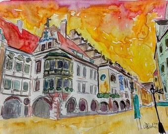 Munich Hofbrauhaus Sunset am Platzl - Limited Edition Print