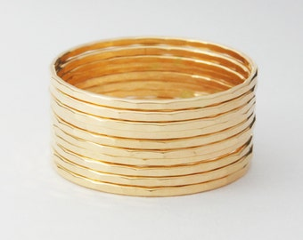 Gold Stack Ring Set of 10 Yellow Gold Filled Rings