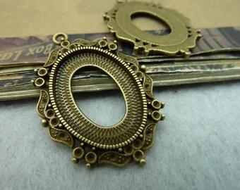 10pcs 25x18mm antique bronze cabochon pendant settings C6421
