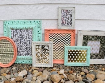 Set of 7 Coral, Mint, White Frames - Gold Picture Frame Set - Nursery, Wedding, Home Decor - Wall Group - Gold, Copper, Bronze - Wall Decor