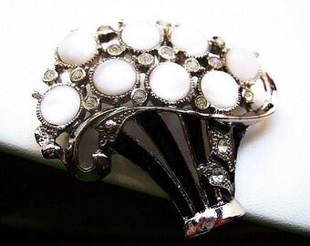Art Deco Flower Basket Brooch White Moonstone & Rhinestones Black Enamel Silver Metal 2 1/4 in Vintage