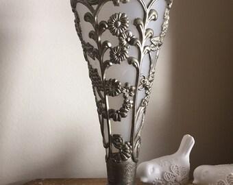 Vintage Art Nouveau Style Silver Tone Overlay Vase