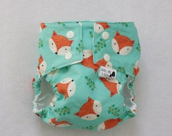 FoxyWater Resistant PUL Lined Cloth Diaper Cover Available in Small