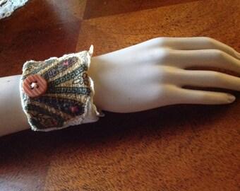 Fabric Wrist Cuff/Vintage Upcycled Wrist Cuff