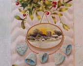 Lovely Edwardian Era Embossed Postcard-Aqua Bells and Holly