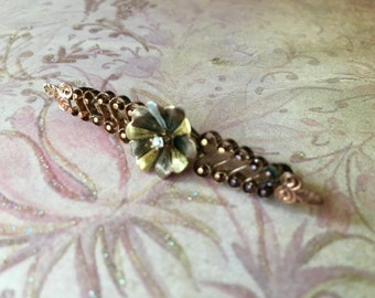 Dainty Victorian Era 10K Rose Gold Brooch with Tiny Diamond