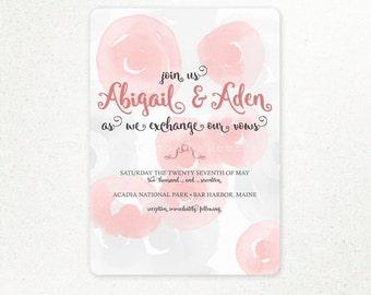 Watercolor Roses UNIQUE WEDDING INVITATION