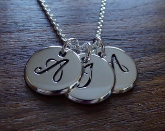 Three Silver Initial Pendants on one Necklace