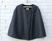 Womens cape. Slate grey wool cape, asymmetrical cape. Fully lined. Available Sizes S-M-L-XL. Wife gift. Gift for her. Womens.