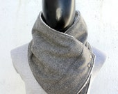 Mens cowl scarf. Unisex scarf. Men and women cowl. Light flecked grey wool and faux lamb fur, metallic snaps.Mens winter. Husband gift.