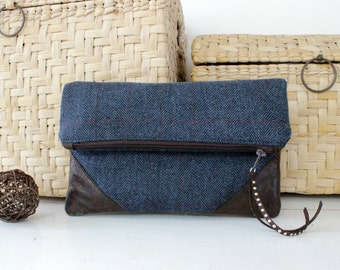 Clutch, fold over clutch, teal wool and faux suede. Womens gift. Wife gift. Gift for her. Handmade