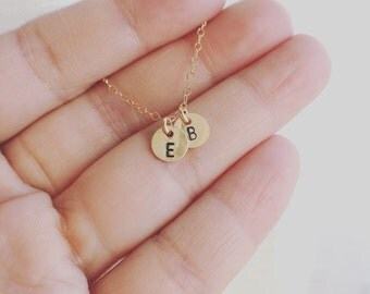 Initials Necklace / 14K Gold Filled Tiny Two Custom initials Necklace / Personalization Gift - All 14K Gold Filled - Grandmother's Necklace