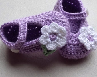 Lilac baby shoes; crochet girl shoes, baby girl shoes, crochet baby shoe, baby booties, crib shoes, baby gift, ready to ship, uk seller