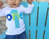 First Birthday  Boys Shirt one 1 blue green modern gift photo prop one green, aqua, blue, lime, black