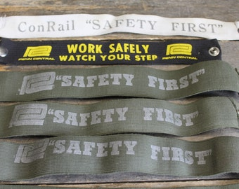 8 Vintage Conrail and Penn Central Railroad Arm Bands // Safety First // Work Safely