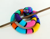 Hair bun Barrette, Hairstyle fascinator, Rainbow hair slide, Head accessory, Long curly hair, Sparkly accessory, Scarf clip slide brooch pin