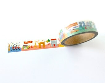 Washi tape, Cityscape decorative tape, printed masking tape for scrapbooking, packaging, journals and planners