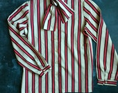 Vintage Russ Tags RT II Striped Secretary Pussybow Blouse