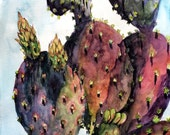 "Cactus Fever, 8"" x 10"" Print of an Original Watercolor Bohemian Decor"