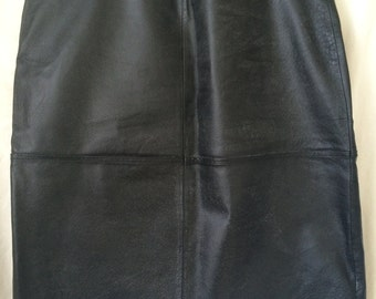 Vintage Black Leather Knee Length Skirt