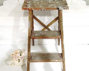 Vintage Wood Step Ladder Rustic Shabby Chic