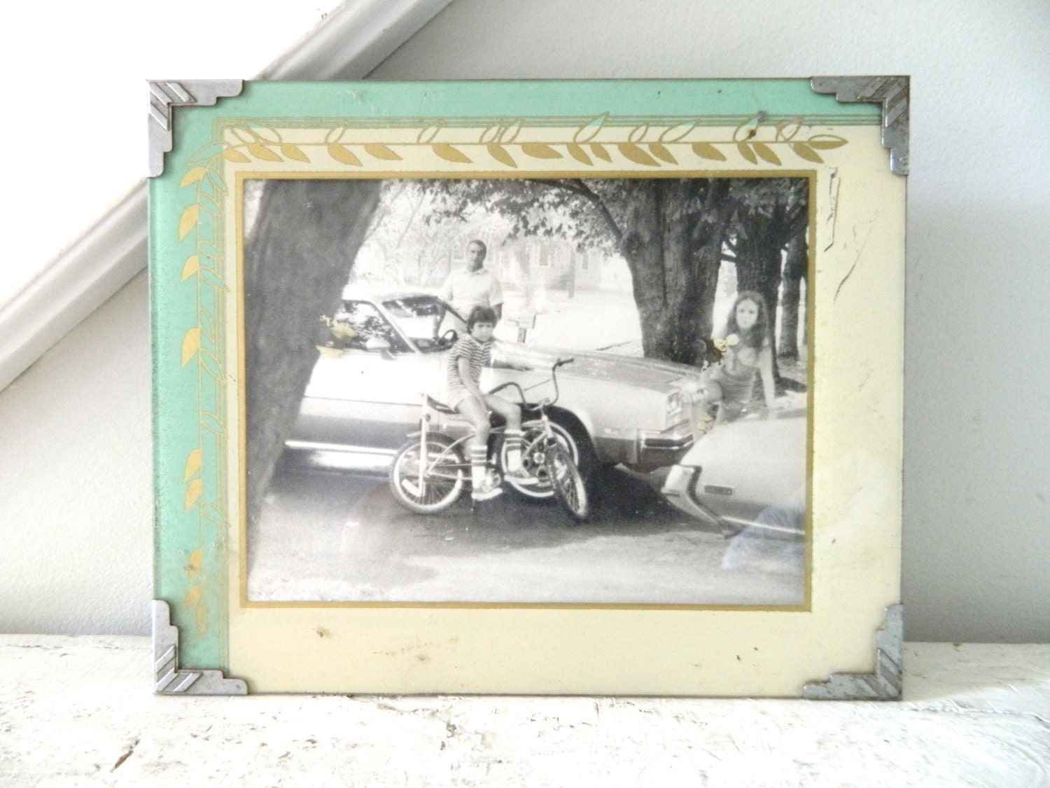 vintage etched glass frame shabby chic