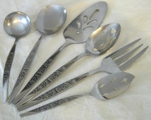 6pc Hostess Set Caress Stainless Steel Flatware Mid Century Nasco Cutlery Japan