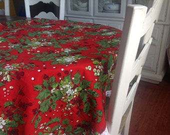 Vintage Handmade Christmas Tablecloth Red with Holly and Mistletoe Berries Rectangler with Pretty White Fringe