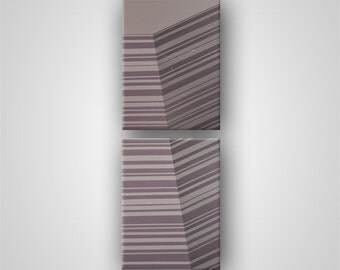 Edge (Series) in Smoke Mauve, Geometric Abstract Original Painting(Diptych), Two Stretched Canvas Panels (each 18in x 24in)