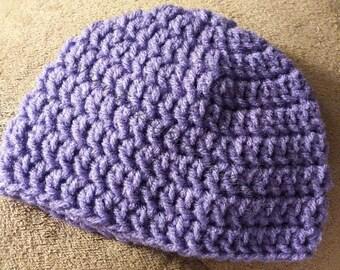 Basic Crochet Beanie Hat - 6 Sizes - Newborn to Adult