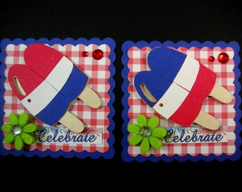 4th of July  Scrapbook Embellishment, Popsicle embellishment, Cupake Card Topper, Patriotic Embellishment