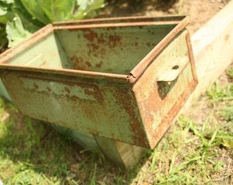 Metal box, Metal Drawer, Industrial Decor, Metal Storage Box, Green, Storage , Rusty, Primitive